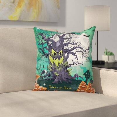 Halloween Decor Spooky Tree Square Pillow Cover Size: 16 x 16
