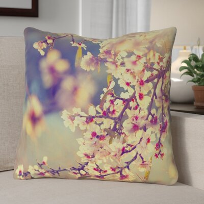 Ghost Train Cherry Blossoms Floral Zipper Throw Pillow Size: 16 H x 16 W