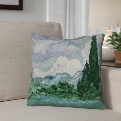 Meredosia Wheat Field with Cypresses Indoor/Outdoor Throw Pillow Color: Blue/Green, Size: 18 H x 18 W