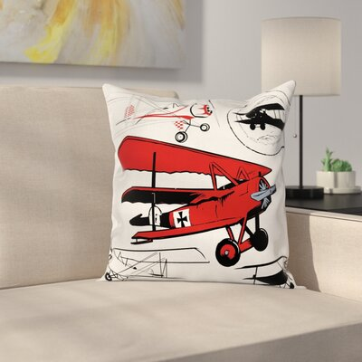 Vintage Airplane Biplanes Set Square Pillow Cover Size: 20 x 20
