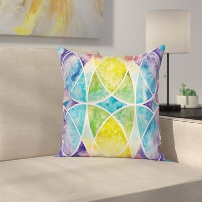 Ombre Rainbow Grunge Square Pillow Cover Size: 24 x 24