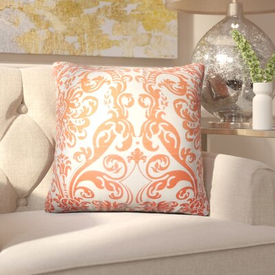 Chessani Damask Cotton Throw Pillow Color: Orange