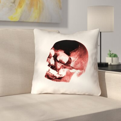 Skull Outdoor Throw Pillow Color: Red/Black/White, Size: 16 x 16