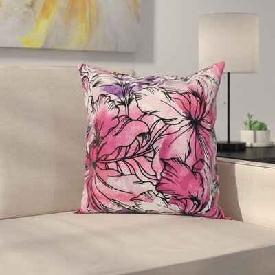 Memmott Floral Print Throw Pillow Color: Purple, Size: 26 x 26