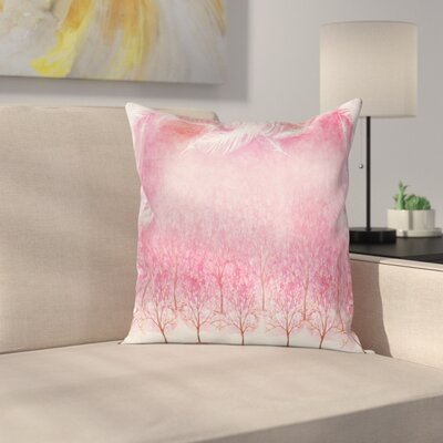 Case Cherry Trees Feathers Square Pillow Cover Size: 16 x 16