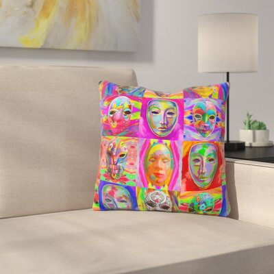 Masks Throw Pillow