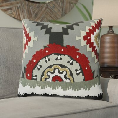 Salguero Aztec Embroidery Square 100% Cotton Throw Pillow