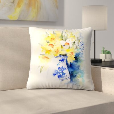 Daffs in Blue and White Vase Throw Pillow Size: 18 x 18