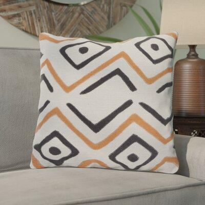 Kreta Linen Throw Pillow Size: 18 H x 18 W x 4 D, Color: Light Gray/Rust/Black