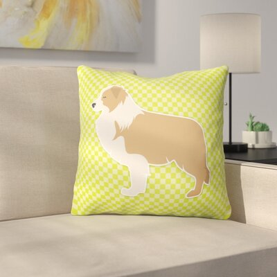 Border Collie Square Indoor/Outdoor Throw Pillow Size: 18 H x 18 W x 3 D, Color: Green