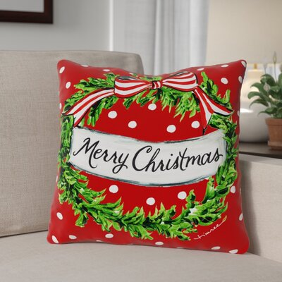 Christmas Dot Wreath Throw Pillow Size: 18 x 18