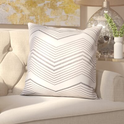 Glaucodot Thin Chevron Throw Pillow Color: Silver