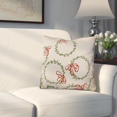 Holiday Simple Wreath Outdoor Throw Pillow Size: 16 H x 16 W, Color: Green