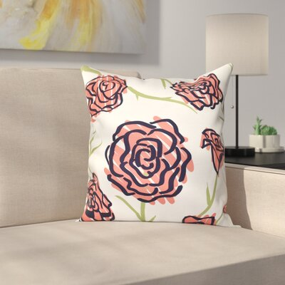 Cherry Spring Floral 1 Print Throw Pillow Size: 18 H x 18 W, Color: Coral