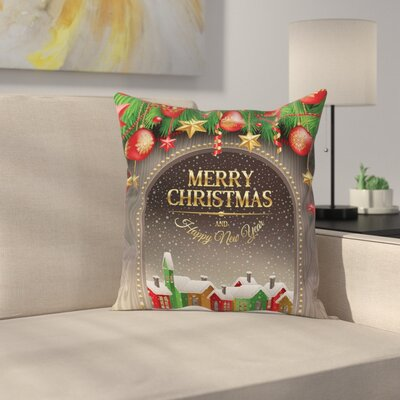 Christmas Vintage Wood Design Square Pillow Cover Size: 18 x 18