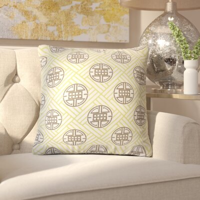 Amos Geometric Linen Throw Pillow Color: Lime