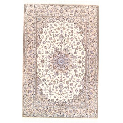 Persian Genuine Nain Hand-Knotted Wool Beige Area Rug