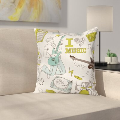 Love Music Sketch Square Pillow Cover Size: 16 x 16