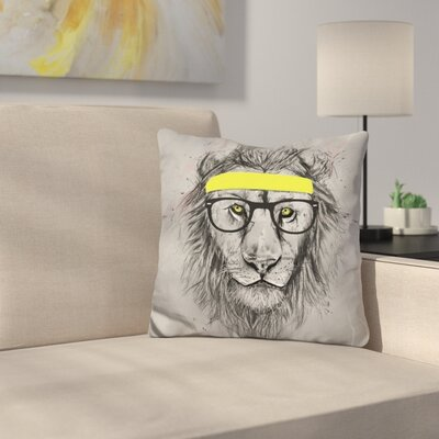 Hipster Lion Throw Pillow Color: Black