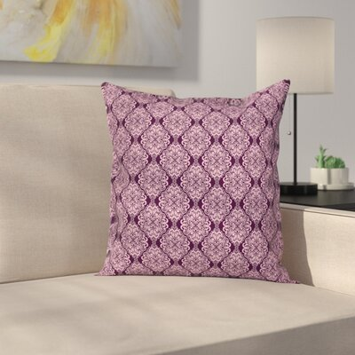 Plum Damask Floral Swirls Square Pillow Cover Size: 16 x 16