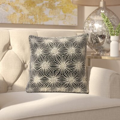 Gehlen Beaded Sun Stars Throw Pillow Color: Black/Silver