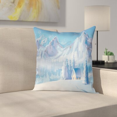Little House Mountains Square Pillow Cover Size: 20 x 20