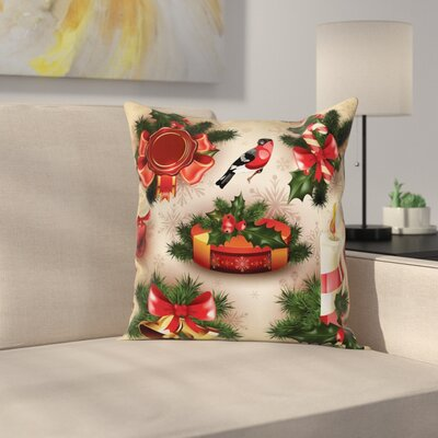Christmas Vintage Ornaments Square Pillow Cover Size: 16 x 16