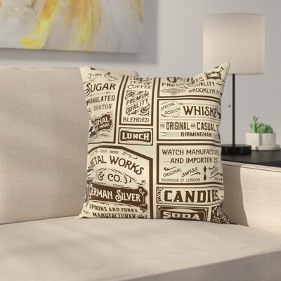 Old Advertisement Retro Square Pillow Cover Size: 16 x 16