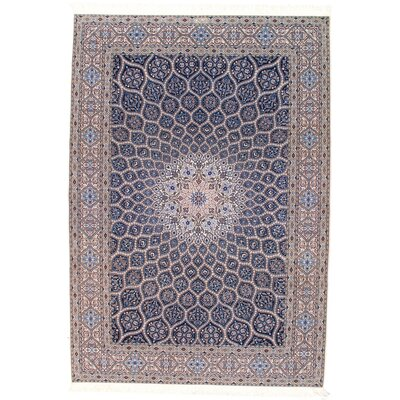 Persian Genuine Nain Hand-Knotted Wool Navy Blue/Brown Area Rug