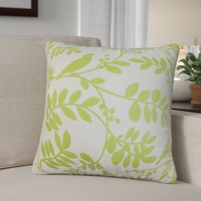 Jerard Floral Cotton Throw Pillow Color: Leaf, Size: 18 x 18