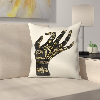 Palmistry Throw Pillow Color: Black/Gold, Size: 14 x 14