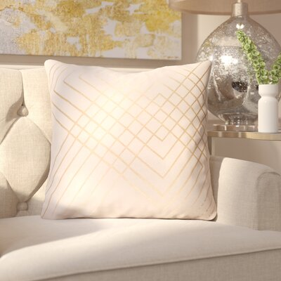 Caressa Glamorous Cotton Throw Pillow Size: 22 H x 22 W x 4 D, Color: Neutral/Brown