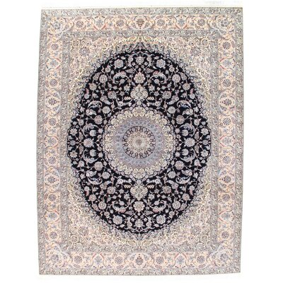Persian Genuine Nain Hand-Knotted Wool Beige/Black Area Rug Rug Size: Rectangle 810 x 1110