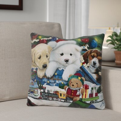 Berkey Curious Christmas Pups Throw Pillow
