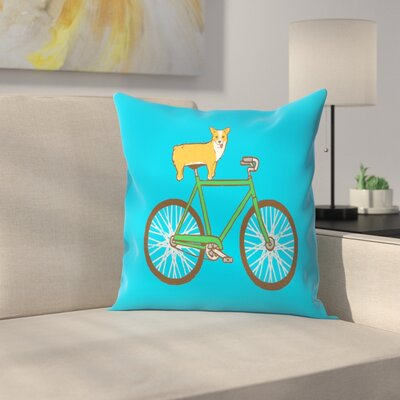 Joe Van Wetering Corgi on a Bike Throw Pillow Size: 14 x 14