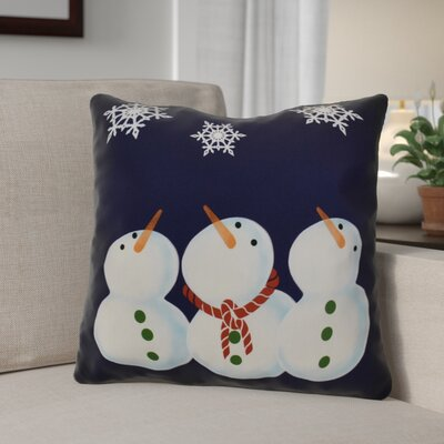 Decorative Snowmen Geometric Print Throw Pillow Size: 16 H x 16 W, Color: Navy Blue