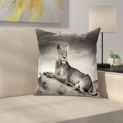 Wild Lioness Square Pillow Cover Size: 20 x 20