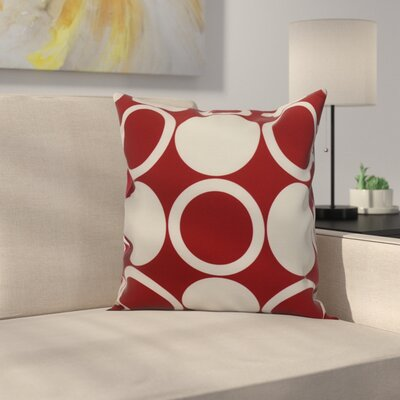 Memmott Mod Circles Throw Pillow Color: Red, Size: 18 x 18