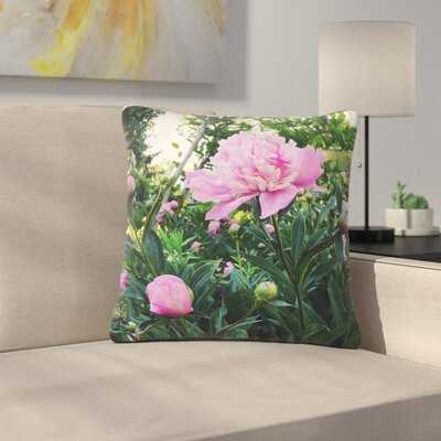 Peonies Floral Outdoor Throw Pillow Size: 16 H x 16 W x 5 D