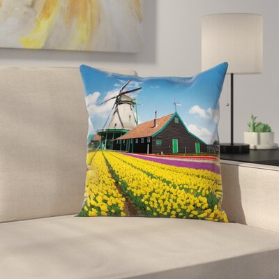 Windmill Decor Dutch Tulips Square Pillow Cover Size: 20 x 20