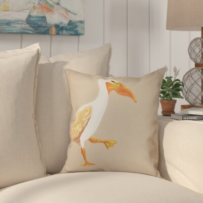 Cavendish Pelican March Animal Print Throw Pillow Size: 18 H x 18 W, Color: Taupe/Beige