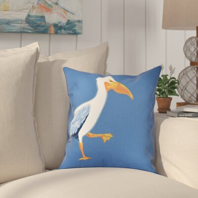 Cavendish Pelican March Animal Print Throw Pillow Size: 26 H x 26 W, Color: Blue