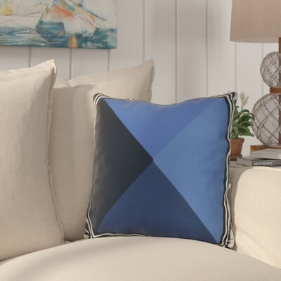 Bartow Nautical Angles Outdoor Throw Pillow Size: 16 H x 16 W x 3 D, Color: Navy Blue