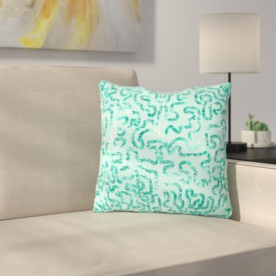 Squiggles by Anneline Sophia 16 Throw Pillow Size: 18 x 18, Color: Teal