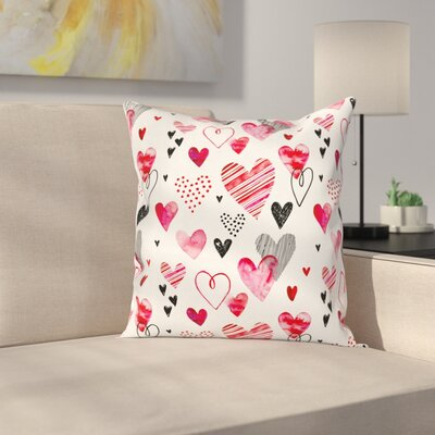 Modern Hearts Pillow Cover Size: 24 x 24