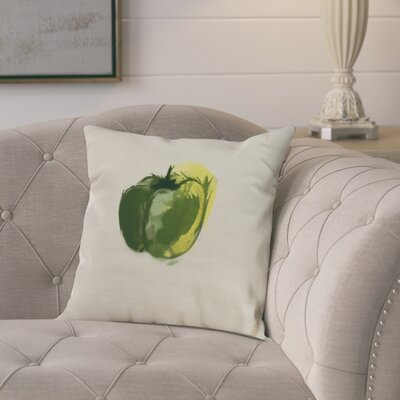 Kaylor Pepper Indoor/Outdoor Throw Pillow Color: Green, Size: 18 x 18