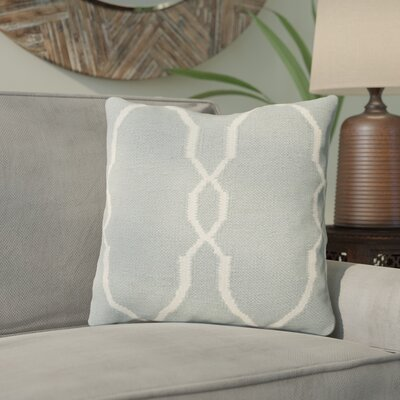 Cosima Throw Pillow Size: 18 H x 18 W x 4 D, Color: Sky Blue / Ivory, Filler: Down
