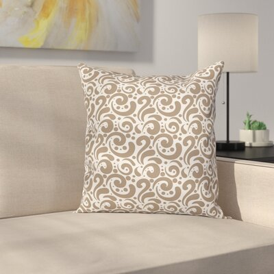 Swirled Bold Lines Dots Square Pillow Cover Size: 16 x 16