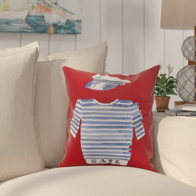 Crider Captain Shirt Print Indoor/Outdoor Throw Pillow Color: Red, Size: 18 x 18