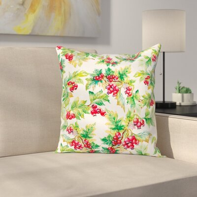 Watercolor Berries Winter Square Pillow Cover Size: 18 x 18